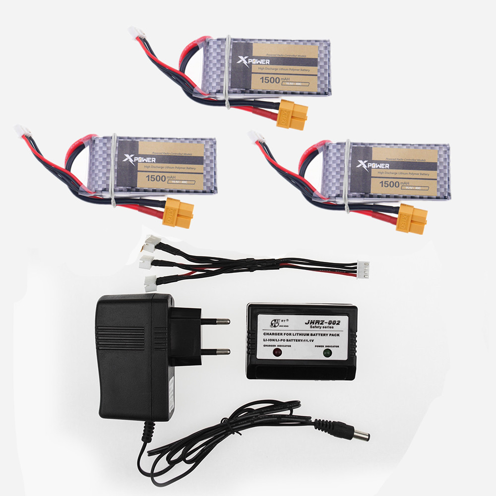 3pcs Xpower lipo 3s Battery 11.1V 1500Mah 3S 40C MAX 60C XT60/T Plug and charger For RC Car Airplane WLtoys V950 Helicopter