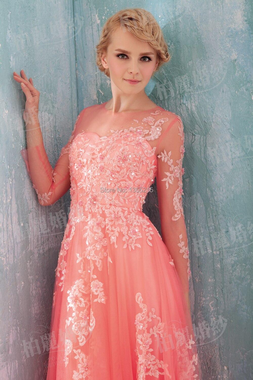 Personalizada de Manga Larga Vestidos Formales Coral Vestido de ...