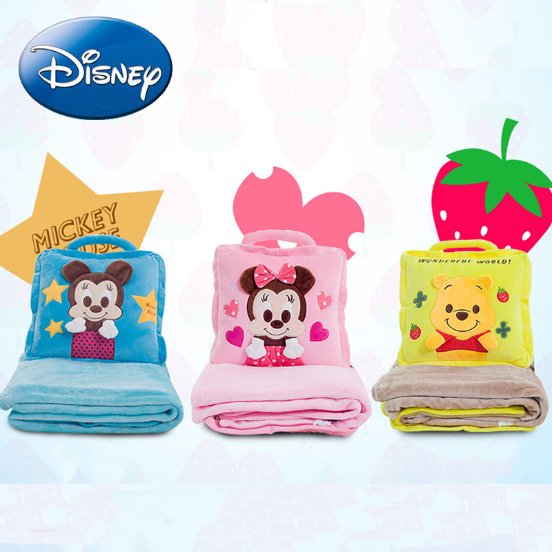 Disney Mickey Mouse Blankets Pillow Children Cartoon Minnie Blanket Baby Nap Autumn Soft Warm Bedroom Blankets Pillow Dual use free shipping infant children cartoon thick coral cashmere blankets baby nap blanket baby quilt size is 110 135 cm t01 page 3