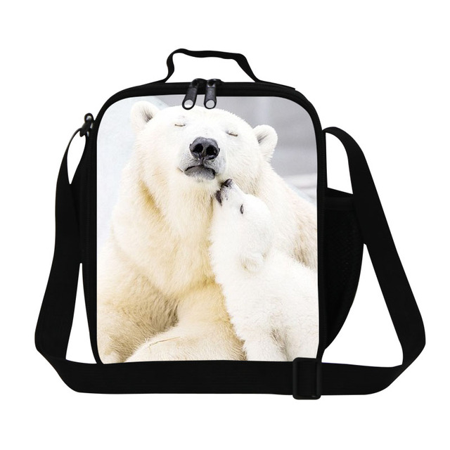 Personalized polar bear 3D printing girly lunch bags for school,designer insulated food bags for teens,womens work lunch box