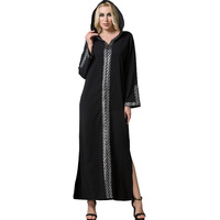 Spring Autumn Turkey Women Hooded Dress Plus Size Patchwork Double Sides Split Full Sleeve Long Muslim Dress Ramadan Robe Longue