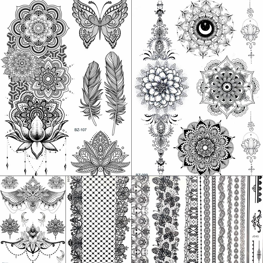 Chains Mandala Henna Flower Butterfly Black India Temporary Tattoos Stickers Women Girls Arm Tatto Wrist Totem Waterproof Tattoo