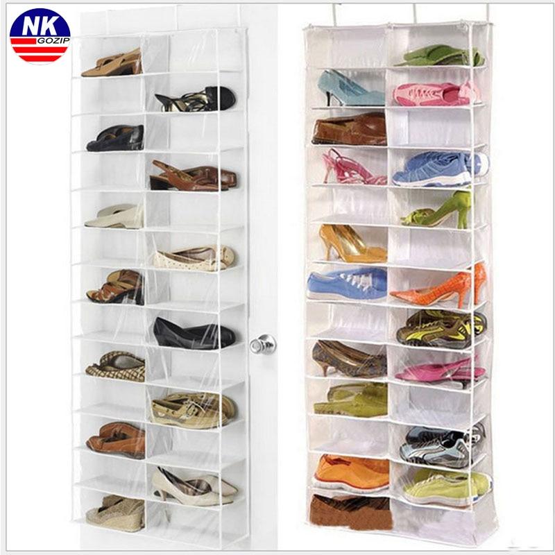 NK Gozip Over Door ჩამოკიდებული ფეხსაცმლის ორგანიზატორი საცავის მფლობელი დალაგება 26 წყვილი ფეხსაცმლის თაროს საკიდი საცავის ორგანიზატორისთვის