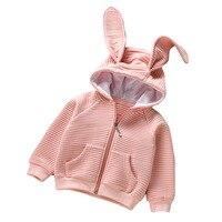 Nuevo Otoño Primavera Otoño Niña Chaquetas Orejas de Conejo Abrigo Con Capucha Abrigo Princesa Lindo Cardigan Infantil Ropa de Las Muchachas Niños 2-7Y