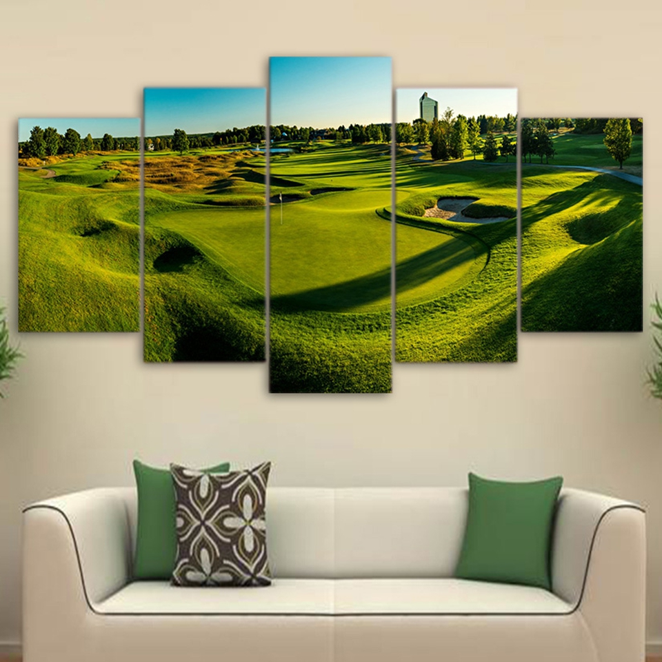 Modern Canvas Poster Wall Art Frame HD Printed Photo 5 Pieces Golf Course  Painting Green Hill Part 88