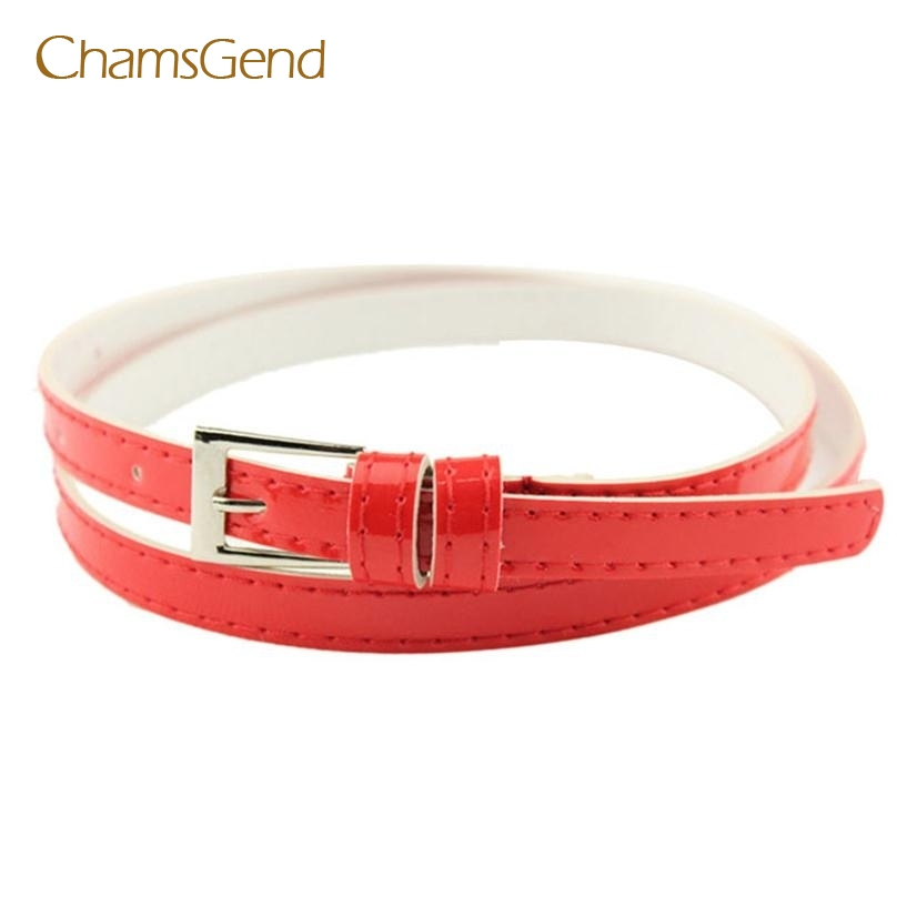 Belt Chamsgend 14 clolors Hot Beautiful Woman Multicolor Small Candy Color Thin Leather Belt Ms Belt Drop Shipping ap21