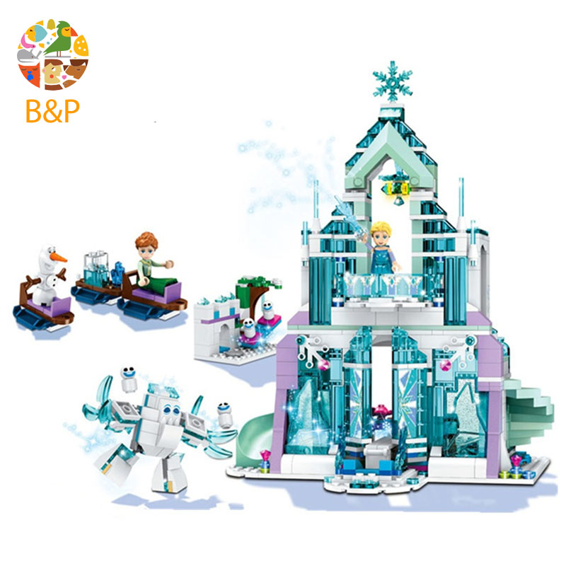 Logoing 41148 Snow World Series The Elsa`s Magical Ice Castle Set Building Blocks Bricks legoinglys Toys Girl friend with 10664