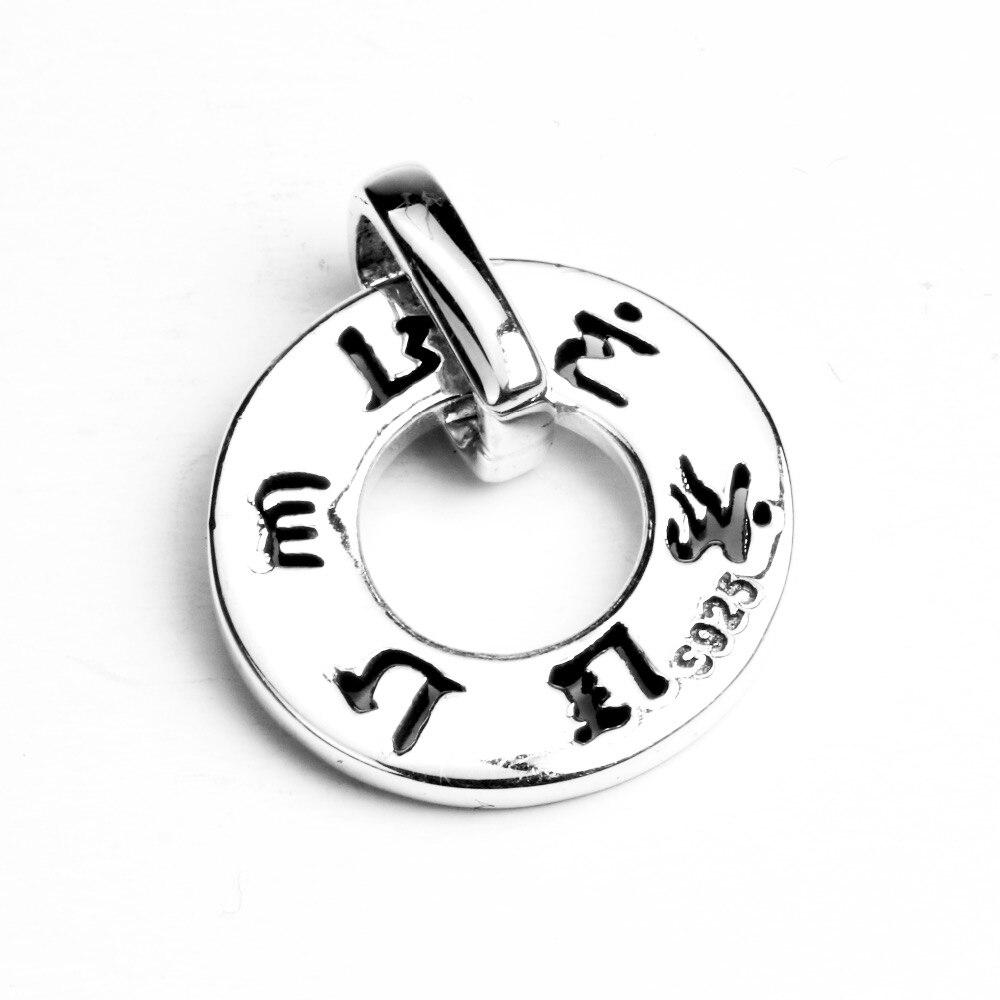 Reale 925 Sterling Silver Ciondolo Gioielli Vintage Inciso Sei Parole Mantra Om Mani Padme Hum Accessori Donna 2017
