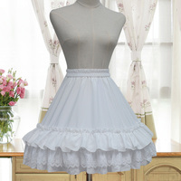Ngọt ngào Lolita Voan Váy Nữ Quần Áo Trắng Đen A-Line Petticoat Ren Layered Thêu Ruffles Mori Cô Gái Váy U317