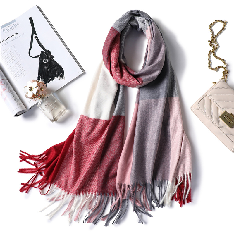 2020 Winter Scarf For Women Shawls Wrap Fashion Plaid Warm Thick Cashmere Scarves Lady Pashmina Female Bandana Quality Tassel