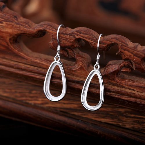 Jewelry & Accessories 925 Sterling Silver 8x16mm Pear Cabochon Semi Mount Chandelier Hook Earrings