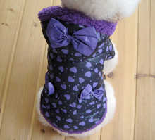 Free Shipping! Purple bow dog winter clothes , wholesale pet clothes coat, pet apparel