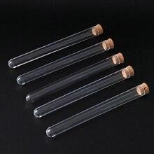 100PCS labor 15x150mm klar kunststoff reagenzglas mit korken u form boden rohr mit holz stopper