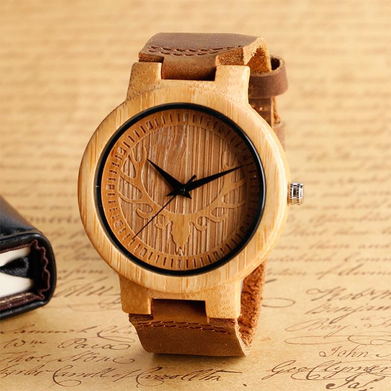 Moose Deer Head Quartz Wood Mens Watch Minimalist Elk Bamboo Clocks Brown Genuine Leather Bangle Clock Male Gift Reloj de madera