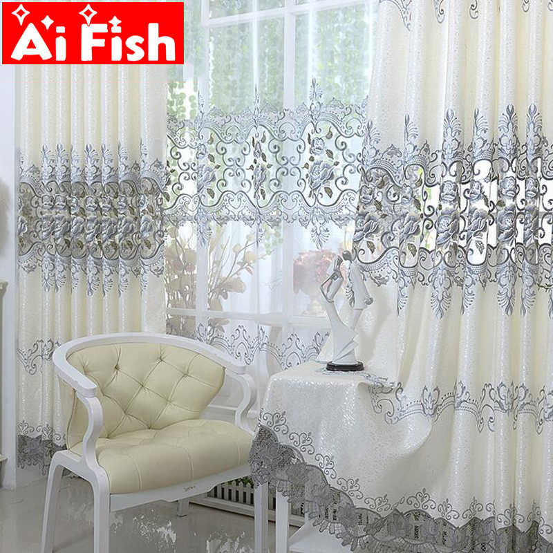 Europe Soluble Embroidered Home Windows Kitche Drapes Panel Luxury Curtains For Living Room Bedroom Shaing Cloth Decor AP147-30