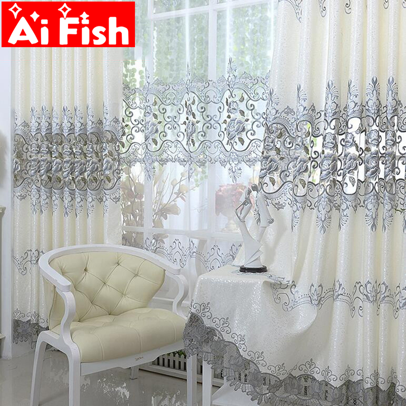 Europe Soluble Embroidered Home Windows Kitche Drapes Panel Luxury Curtains For Living Room Bedroom Shaing Cloth Decor AP147-20