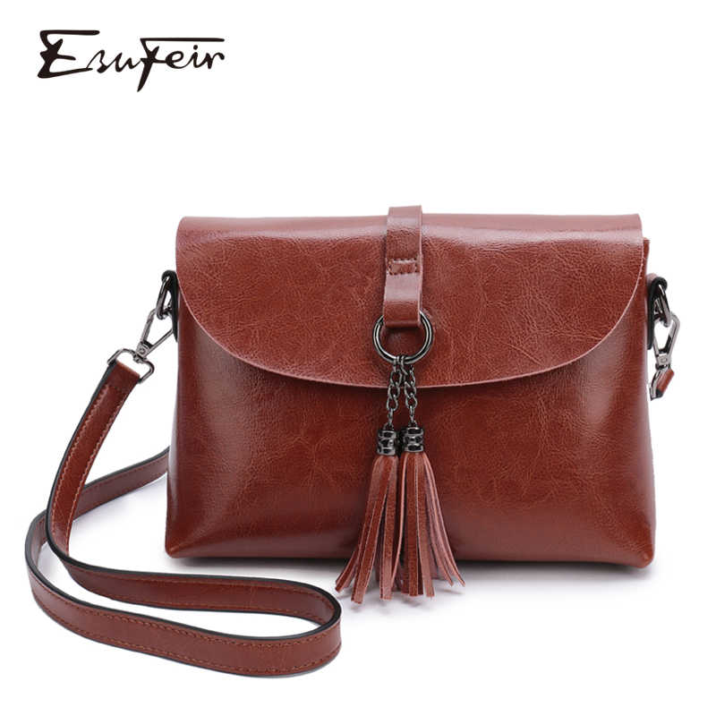 New Arrival Genuine Leather Female Shoulder Bag Tassel Women Cross body Bag 2019 Fashion Messenger Bag Small Flap Bags for Lady