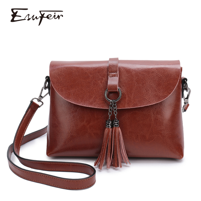 New Arrival Genuine Leather Female Shoulder Bag Tassel Women Cross body Bag 2019 Fashion Messenger Bag Small Flap Bags for Lady tote bag
