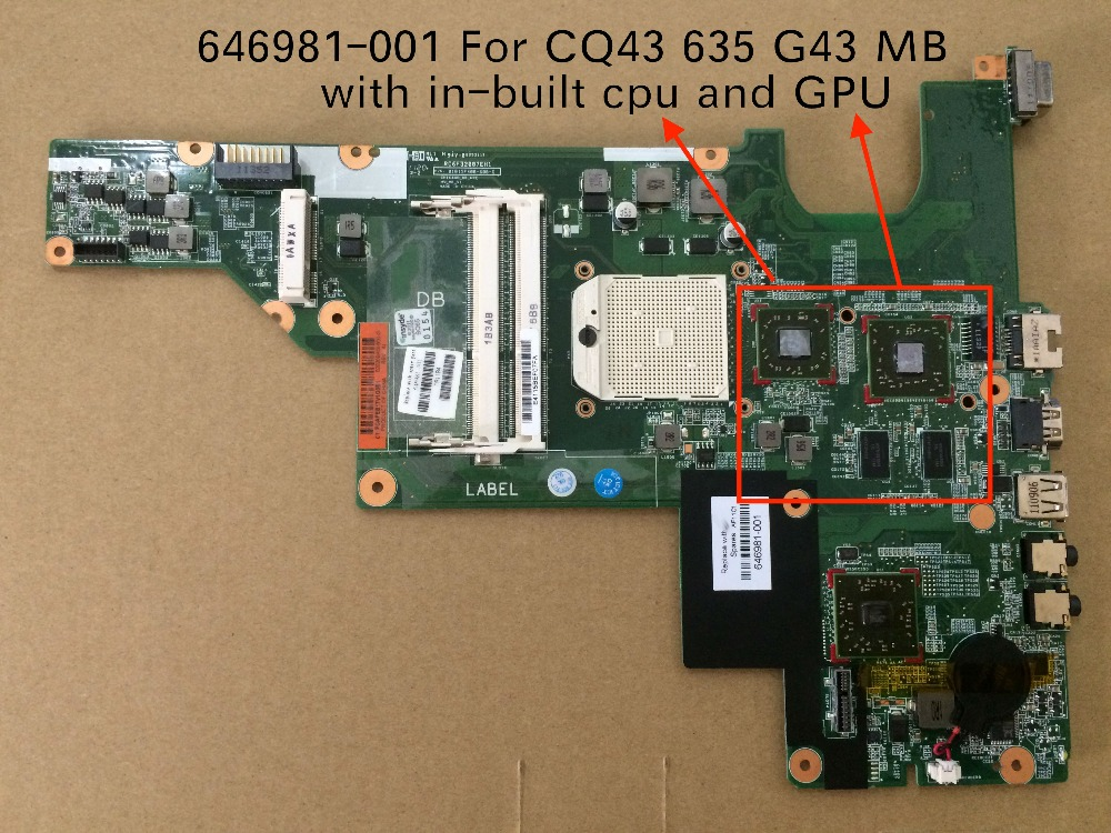 купить Free Shipping For HP CQ43 635 G43 Notebook Motherboard with HD6370 GPU 646981-001 онлайн