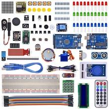 Kit para arduino uno con mega 2560/lcd1602/hc-sr04/línea de dupont en caja de plástico