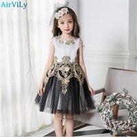 Wedding Dresses 2018 Black And Gold Princess Vintage Girl Dresses Embroidered Formal Party Girl Christmas Princess