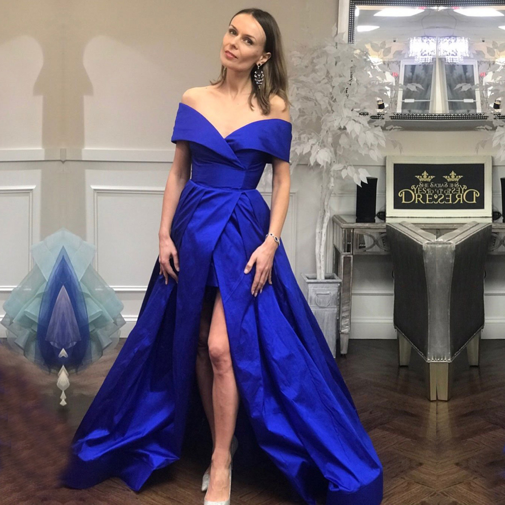 Simple Royal Blue   Evening     Dresses   2019 High Slit Long Women Off the Shoulder   Evening   Gowns Plus Size Formal Gowns robe de soiree