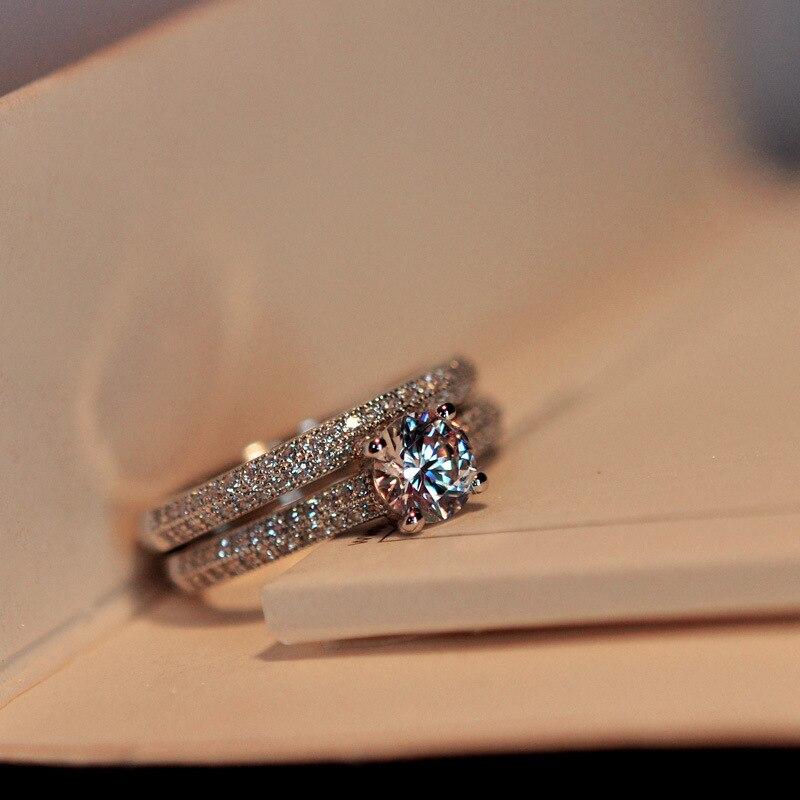 Luxury Female White Bridal Wedding Ring Set   1