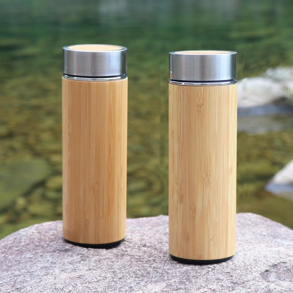 300ml Stainless Steel Thermos Bottle For Water Coffee Mug Vacuum Flask Straight Cup Cover Bamboo Creative