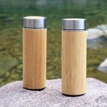 300 ml Edelstahl Thermosflasche Für Wasser Kaffee Becher Isolierflasche Gerade Tasse Deckel Bambus Kreative Für Auto geschenk
