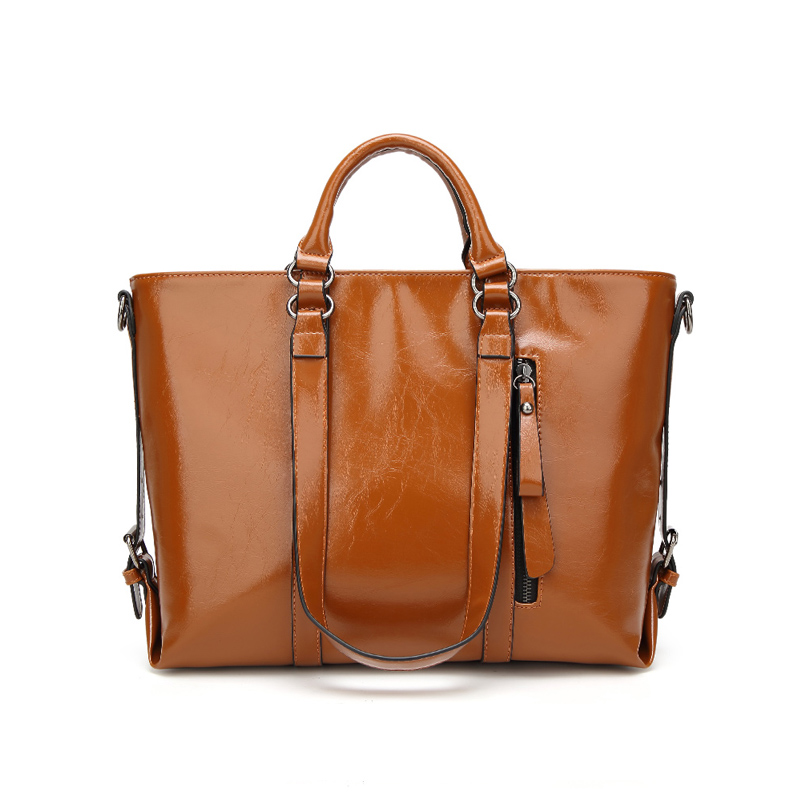 Europe and the United States oil wax leather motorcycle bag large capacity female bag retro ladies handbag shoulder bag hot fashion europe and the united states fashion oil wax kraft handbag vertical section zipper multi color ladies shoulder messe