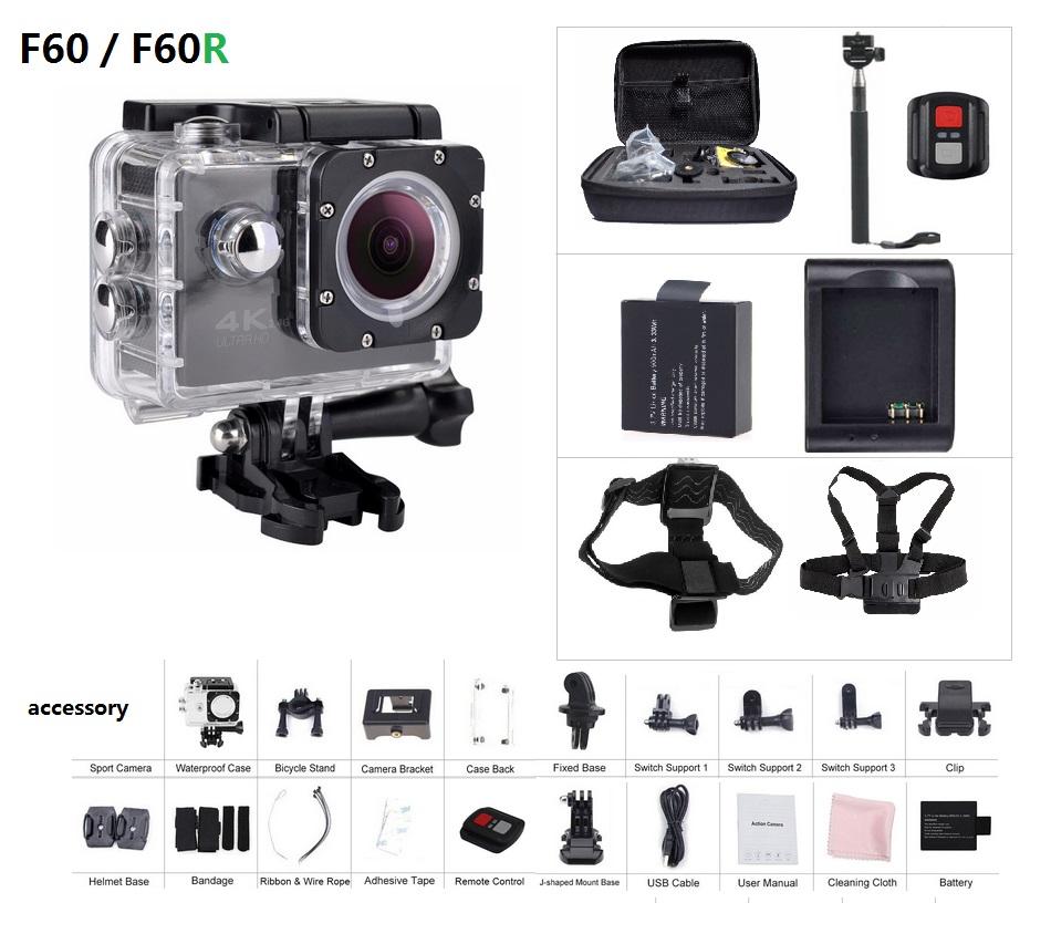 Prix pour Action Caméra F60/F60R 2.4G à distance ultra hd 4 K 12mp caméra vidéo d'action étanche extreme pro Sport caméra + Option