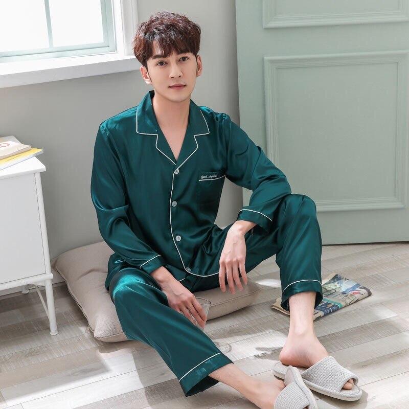 2019 Solid Satin Men Pajama Sets Summer Full Sleeve Autumn Silk Men Sleepwear Suit Casual Two-Piece Silk Pajamas Man Pyjama XXXL