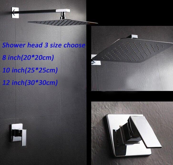 Ensemble de douche mitigeur mural à poignée unique avec tête de douche en acier inoxydable 304 #3 tailles au choix