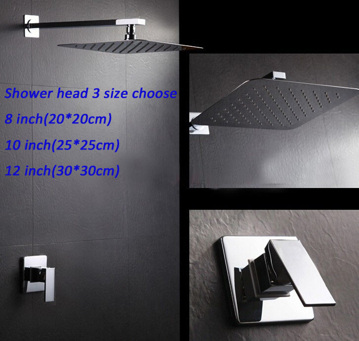 Wall mounted single handle mixer valve shower set with 304# stainless steel ultrathin rain shower head 3 sizes choose