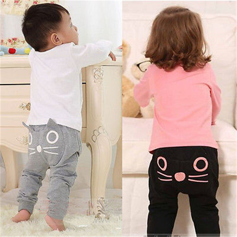 Lovely Autumn Newborn 3 -24 Months PP Pants Baby Girls Boy Unisex Cotton Cat Harem Trousers with Pocket Baby Pants