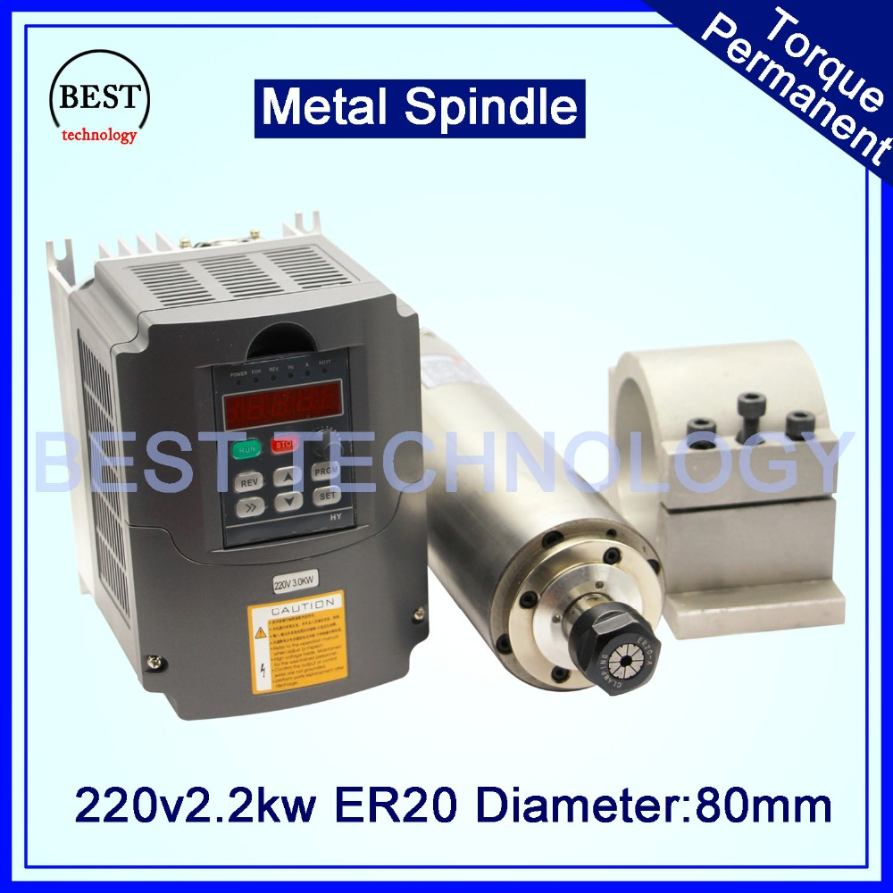 CNC Water Cooled Spindle Motor ER20 2.2KW 220V AC Metal Spindle and Variable Frequency Driver 3kw Inverter and Clamping 80mm new 1 5kw air cooled spindle motor kit cnc spindle motor 220v 1 5kw inverter square milling machine spindle free 13pcs er11
