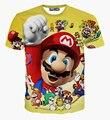 Nova Moda 3D T-shirt de Impressão Dos Desenhos Animados Super Mario Funny T Shirt Dos Homens/Mulheres de Manga Curta T-shirt Amarelo Tops Casuais Roupas de verão