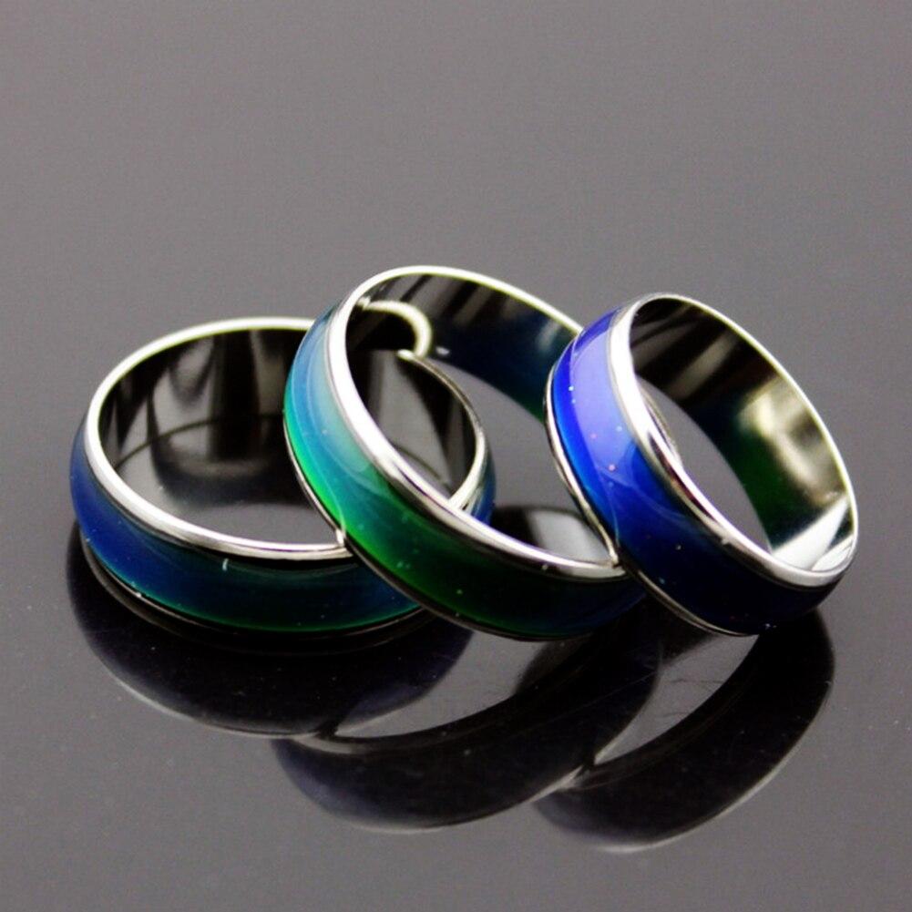 2018 anillos de Color plateado que cambian el humor temperatura ... f51b40981fa