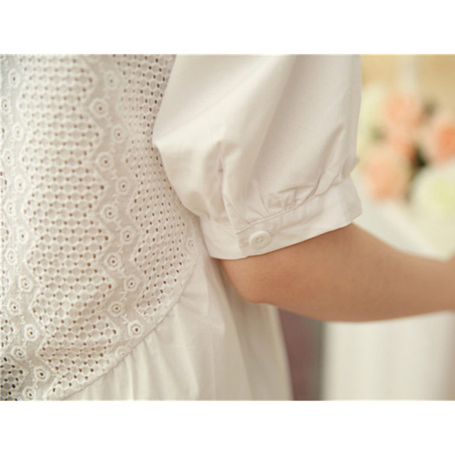 Summer Blouse Women Half Sleeves White Blouse Shirt O-neck Button Raglan Sleeve Hollow Out Casual Lady Tops ruffle blouse Cotton 5