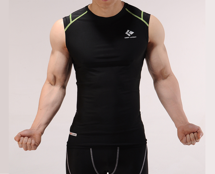 Men 39 s body slimming compression sleeveless close fitting for Mens moisture wicking sleeveless shirts