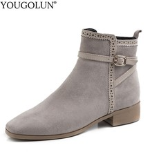 все цены на Chelsea Boots Cow Suede Women Autumn Winter Ladies High Heels Shoes A269 Woman Black Gray Buckle Zipper Square Toe Ankle Boots онлайн