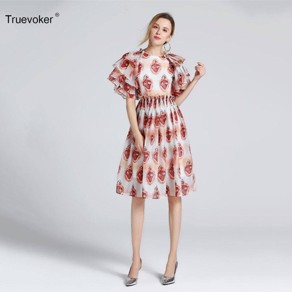 De Haute Station Truevoker Qualité Designer À Robe 2019 Femmes Gaze Ete Rétro Imprimé Femme Manches D'été Volants OqxxnXWY