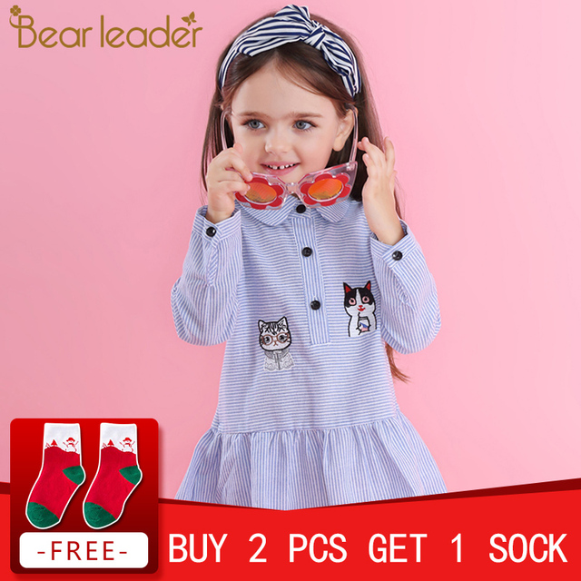Bear Leader Girls Dress 2018 New Autumn Shirts Dresses Long Sleeve Striped Embroidery Cut Dog &Cat Design Dresses For 3-7 Years