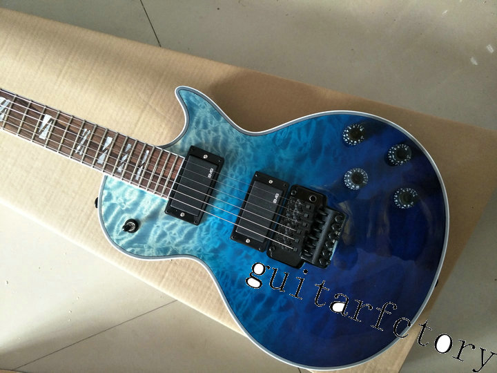 Wholesale High Quality Les blue Mahogany Body Custom Shop LP Electric Guitar with Tremolo Nut Lock Golden Hardware custom shop goldentop lp electric china guitar solid mahogany guitar body with bigsby for sale