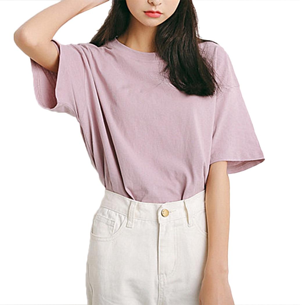 Korean Fashion Summer Ladies Short Sleeve Tops Femme 2018 Casual Women O Neck T Shirt Basic Solid Tee Shirts Camiseta Mujer
