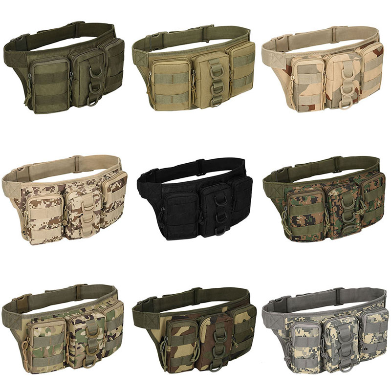 THINKTHENDO Oxford fabric Utility Waist Pack Pouch Military Bag Belt Bags Zipper Waist Pack Bag Men drawstring waist sleeveless utility jumpsuit