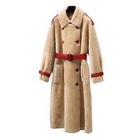 New Arrival Winter Coat Full Long Turn down Collar Double Breasted Slim Full Pelt Thick Warm Faux Wool Coat XHSD 401