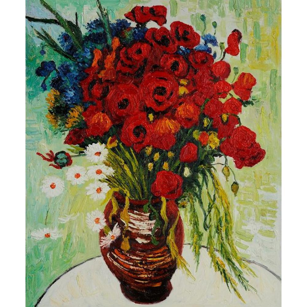 High quality Vincent Van Gogh paintings for sale Vase with Daisies and Poppies Canvas art hand-paintedHigh quality Vincent Van Gogh paintings for sale Vase with Daisies and Poppies Canvas art hand-painted