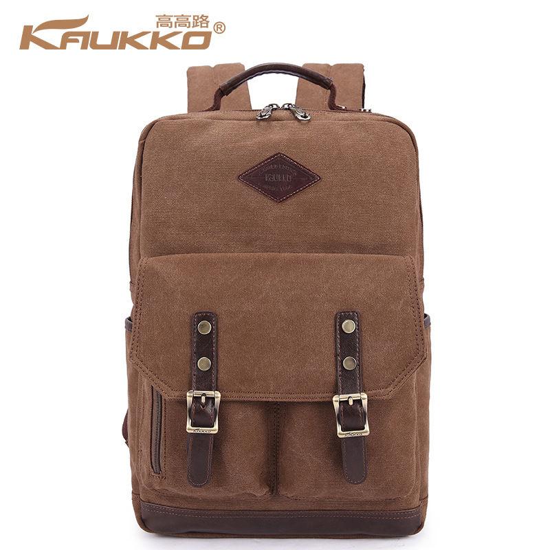 KAUKKO 15 inch Laptop Backpack Vintage Canvas Men Business Daypack Casual School Bag Travel Rucksack Black Khaki