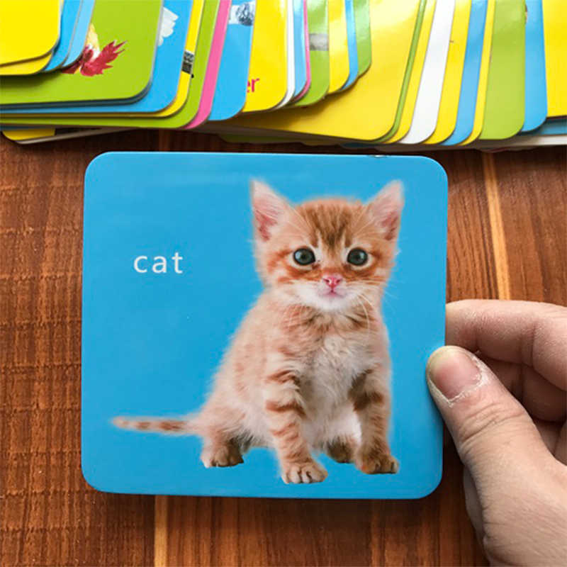 44Pcs/Set Body Parts Animal Early English Learing Flash Card Educational Toys For Children English Word Game Kids Pocket Card